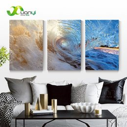 Art Canvas Prints Australia - 3 Panel Seascape Oil Canvas Painting Sea Wave Wall Art Picture For Living Room Modern Printing Unframed PR1287