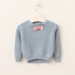 Chemisier Femme Rose Pas Cher-Everweekend Girls Tricoté Bow Solid Sweater Tops Candy Pink et Blue Color Sweet Clothing Lovely Baby Autumn Blouse