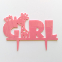 Wholesale New Arrival Baby Shower Birthday Party Cake Inserted Card Blue Elephant It s A Boy Cake Topper Pink Deer It s A Girl Cake Topper