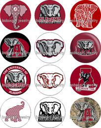 Red elephant jewelRy online shopping - ALABAMA Elephant Sport glass Snap button Jewelry Charm Popper for Snap Jewelry good quality Gl344 jewelry making