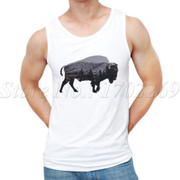 $enCountryForm.capitalKeyWord Canada - Wholesale- Newest Summer Fashion The American Bison design Men Tank tops animal retro printed hipster Vest
