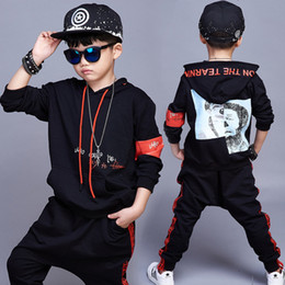 Barato Trajes De Dança Para O Verão-New Fashion Children's Jazz Dance Costume Boys Girls Hip-hop Costume Boys Tracksuit Summer Sport Suit Stage Performance Costume
