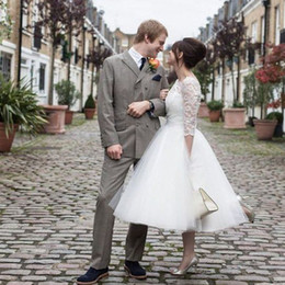 $enCountryForm.capitalKeyWord UK - 2016 Vintage Tea Length Wedding Dress A Line Sheer Neck Lace Top Tulle Skirt Garden Simple Cheap Bridal Gowns Custom Made Plus Size