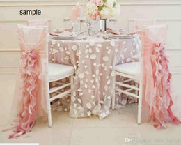 champagne chair organza NZ - 2015 Blush Pink Chiffon Ruffles Romantic Beautiful Chair Sash Sample G01