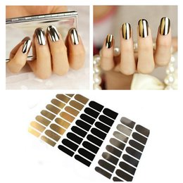 Décalcomanies Patchs Ongles Pas Cher-Vente en gros 3pcs Nail Sticker Art Décoration Or Noir Silver Nail Foil Wraps Patch Decals Beauty Tools NA010