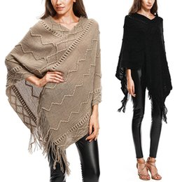 Wholesale women short sweaters cape for sale - Group buy Autumn Knitted Sweater Poncho Batwing Sleeve Women Coat Casual Pullover Jumper Irregular Tassel Hem Cape Cloak Pull Femme