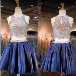 Barato Vestidos De Fita-Sparkling Two Pieces Sliver Sequins Homecoming Vestidos 2016 Short Blue Prom Dresses Real Photo Cocktail Graduação Party Vestidos para Juniors