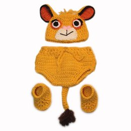 Housses De Couches De Photos Pas Cher-Nouveauté Nouveau-né Lion Costume SImba, Handmade Crochet Baby Boy Girl Cartoon Animal Hat, Couverture de couches, Booties Set, Infante Halloween Photo Prop