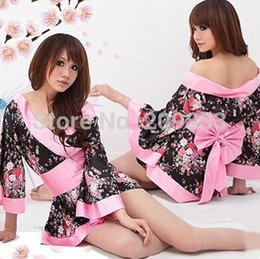 gold robes wholesale 2019 - Wholesale- Robe Sexy Nightwear Nightdress Sexy Lingerie Japanese Cherry Blossom Kimono Improved Taste High Quality Home