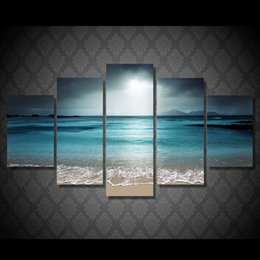$enCountryForm.capitalKeyWord Australia - 5 Pcs Set Framed Printed beach ocean sea sunset Painting Canvas Print room decor print poster picture canvas Free shipping ny-4517