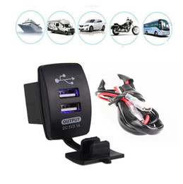 24v dc universal adapter 2019 - DC 12-24V Waterproof Motorcycle Auto Car Dual USB Power Supply Charger Adapter Socket Splitter for Mobile Phone GPS Tabl