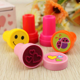 Cartoon Stamping Australia - Cute 10pcs lot Cartoon Flower Stamp Rubber Stamps Funny Gift for Child Kids Stamp Seal Toy Free Shipping School Prize