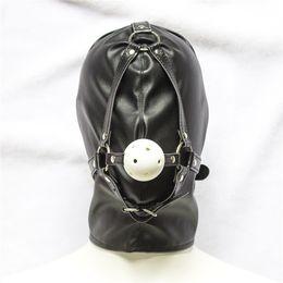 Опт Черный кожезаменитель бондаж капюшон полное покрытие головы капюшон с белым шариком рот кляп секс-игрушки для пар, секс-продукт для взрослых игры