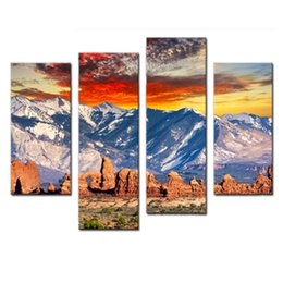 Chinese  Amosi Art-4 Pieces Wall Art Painting Snow Mountain Cloud Blue Sky Pictures Prints On Canvas Landscape For Home Decoration with Wooden Framed manufacturers