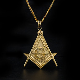 "$enCountryForm.capitalKeyWord Canada - Mens Stainless Steel Masonic Illuminati Symbol 24K Gold Plated Free Mason Pendant with 24"" 27.5"" Cuban Chain Necklace Hiphop"
