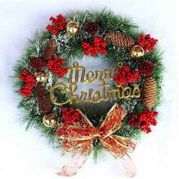 outdoor festival decorations Australia - Christmas Festival Decorative Wreath 40CM Supermarket Shop Hotal Christmas Decorations Window Pendant Christmas Party Layout Props Wreath