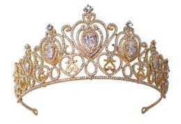 Fairy Wedding Hair UK - Vintage Princess Queen Crown Tiara Wedding Bridal Zircon Crystal Rhinestone Headband Heart Headpiece Hair Accessories Jewelry Silver Gold HG