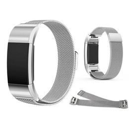 Barato Fechaduras De Pulseira-Fitbit Charge 2 Watch Bandas Milanese Loop Bracelet Stainless Steel Magnet Lock Replacement Magnetic Metal Smart Wristbands Retail Package