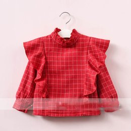 Barato Coreano Miúdos-Everweekend Girls Plaid Ruffles Tees Cute Baby Red and Black Color Clothes Lovely Kids Fleece Forro Korean Fashion Outono Tops