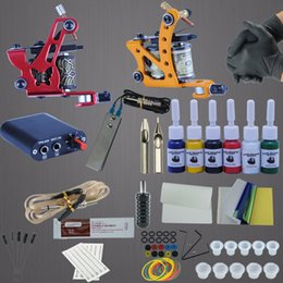 Accesorios Para Maquillaje Permanente Baratos-Maquinas de tatuaje Power Box Set 6 colores Tinta Grip Agujas Accesorios Kits Completado Tattoo Permanent Makeup Kit