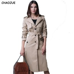 Abrigos Largos Con Estilo Baratos-Al por mayor- CHAOJUE 4XL NUEVO Solo Breasted Trench Coat British Ladies Loose extra largo Beige Coat para mujeres Causal Elegante Black Pea Coat