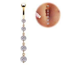bar belly button rings UK - Free by DHL 316L Surgical Steel Sexy White Plated Crystal Zircon Belly Navel Ring Piercing Jewelry Belly Bar Button Crystal Body Jewelry