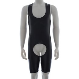 Esclavage En Cuir Des Hommes Pas Cher-Jeux pour adultes Fetish Bondage Restraint Open Crotch Latex Catsuit Hommes Faux Leather Bodysuit pour hommes Spandex Fetish Wear Sex Products 17901