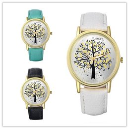tree life watches UK - Luxury Women Life Tree Charm Quartz Watch Wristwatches Brand Lovers Watches Women Leather Casual Watch WH0010D