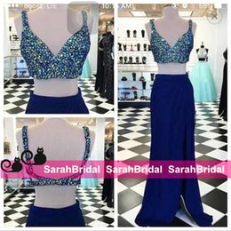 Spaghetti Strap Fitted Prom Dresses NZ - Long Fitted Two Piece Prom Dresses Crystals Top Spaghetti Straps Sexy Beading Side Slit Evening Party Graduation Gowns Vestido