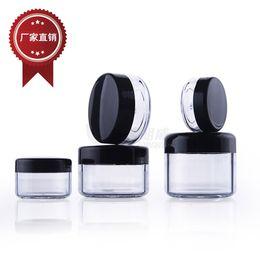 Venta al por mayor de 3g 5g 10g 15g 20g envase plástico cosmético negro Tarro poner crema Maquillaje Muestra Tarro Botella de empaquetado cosmética