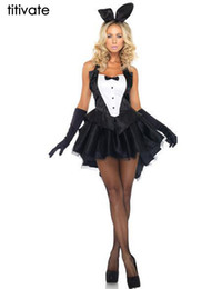 Barato Trajes De Animais Sexy Para Adultos-Atacado-M-2XL Bunny Girl Rabbit TITIVATE Trajes Mulheres Cosplay Sexy Halloween Costume Animal Adulto Fancy Dress Clubwear Party Wear