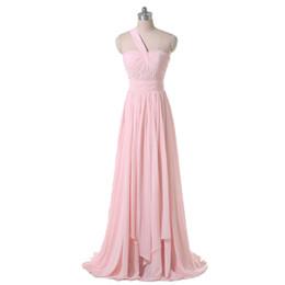 $enCountryForm.capitalKeyWord UK - 2017 One Shoulder Pink Chiffon Long Bridesmaid Dress Pleared Design Good Quality Zip Back Formal Gown
