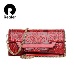 $enCountryForm.capitalKeyWord UK - National Floral Embossed Leather Handbag Women Messenger Bags Small Chain Red Ladies Evening Envelope Clutch Long Purse