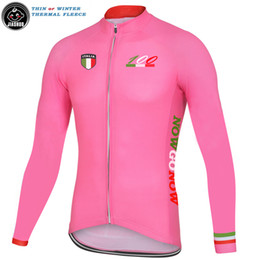 Discount cycling jerseys italy Thin Or Winter Thermal Fleece NEW Pink Italia Italy 100 Years RACE Team Long Cycling Jersey   Shirts & Tops Breathable Customized JIASHUO