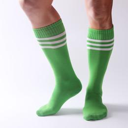f00d1965981 Green White Striped Knee High Socks Canada - Compression socks Sport  Striped socks knee high football