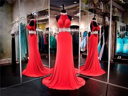 vintage crystal choker NZ - Red Jersey Prom Dress with Crystal Choker and Keyhole Back Evenign Dress Chiffon Beading Sash Party Dress Pageant Dress