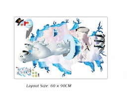 animal characters for kids UK - Creative Stereo Polar Bear Penguin Wall Stickers Kids Room Nursery Wall Paper Poster Floating Ice Wall Applique Removable PVC Wall Graphics