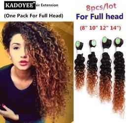 Venta al por mayor de kadoyee 8 unids / lote paquetes de cabello para la cabeza llena ola suelta trama del pelo rizado brasileño humano virgen 8-14 pulgadas color negro ombre