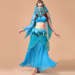 Barato Dança Do Ventre Traje Conjunto Azul-VENDA IMPERDÍVEL !! 2016 New Sexy Belly Dance Costume Set 5pcs (Top + Skirt + Belt + Headwear + Veil) Bollywood / Indian Dance Costumes Dancewear