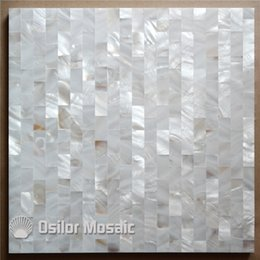 brick tiles kitchen Canada - freshwater shell mother of pearl mosaic tile for interior house decoration bathroom and kitchen wall tile 15x30mm brick style