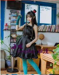 k cosplay Canada - Free shipping K-ON! Mio Akiyama dress Cosplay Costume with hat and gloves and socks Anime Vocaloid Dress