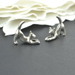 online shopping Vintage tibetan silver hue animal charms metal cat pendants for diy necklace bracelets jewelry fitting mm