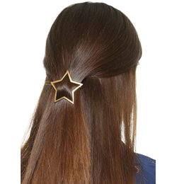 Discount bobby clip - 2017 New Arrive fashion women's pentagon stars hairpin clip headdress bobby pin