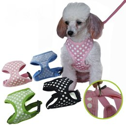 Discount led dog collar chest - Adjustable Dot Collars Breathable Pet Puppy Vest Harnesses Dog Cat Chest Straps Walking Lead Supplies JJ0099 Free Shippi