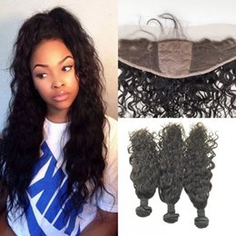 russian hair lace closure Canada - Brazilian Virgin Hair With Silk Base Frontal Closure 4pcs Lot Vrigin Brazilian Water Wave 3 bundles With Silk Lace Frontal 13x4