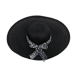 Discount decorate hats - Wholesale- 2017 NEW Black Summer Exquisite Leopard Ribbon Bowknot Decorated Openwork Sun Hat For Women