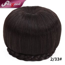 Hair Roller Large Canada - Wholesale-Fake Hair Chignon Bun Hairpiece Braided Clip in Hair Chignon Bun Hair Donut Roller Chignon Size Large Headdress Wigood