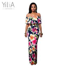 Yilia Women Boho Maxi Dress 2017 New Spring Summer Style Off Shoulder  Ruffled Print Long Dresses Feminine Floor Length Gown D119 q171125 cheap long  gold off ... c68df3e1b