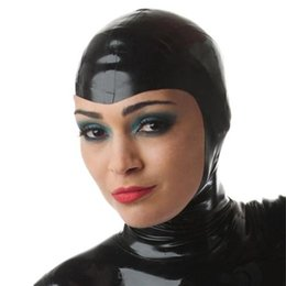 Fétichisme Du Masque Sexy Pas Cher-Grossiste-Adult Jeux de Jouets Produits Latex Naturel Fetish Masque Caps Sexy Bondage Dew Face Hood Masque Sex Game Produits Bondage Hoods