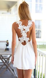 Hot Sexy White Dresses Canada - 2016091711 New New Womens Elegent Sexy Mini Lace White Dress Without Sleeve backless Beach Sun Dress Hot